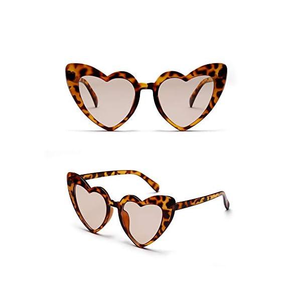 Heart Shaped Retro Cateye Sunglasses for Women, Party Favors Supplies, Red Pink Beige White Black Leopard Eye Wears