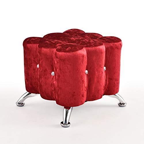 H-ei European-Style Fußbank Flanell Schuhe Hocker Crystal Glass Dressing Hocker für Wohnzimmer, Schlafzimmer (Color : Red)