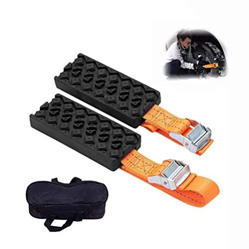 M I A Recuperación Track Mat, dispositivo portátil de tracción de neumáticos para nieve, barro y arena, para coches y vehículos pequeños, desatascarse rápido, 2 piezas