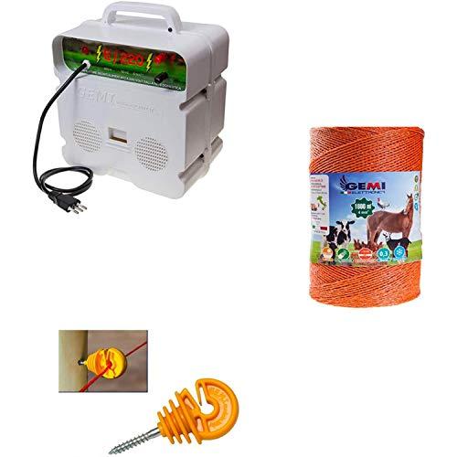 Komplettes Kit Für Den Weidezaun Weidezaunseil Elektrozaun Für Pferde Schafe Wildschweine Und Rehe: 1x Weidezaungerät 220/230V +1x Weidezaunlitze 1000 Mt 4 mm² + 200 St. Ringisolatoren Holzgewinde