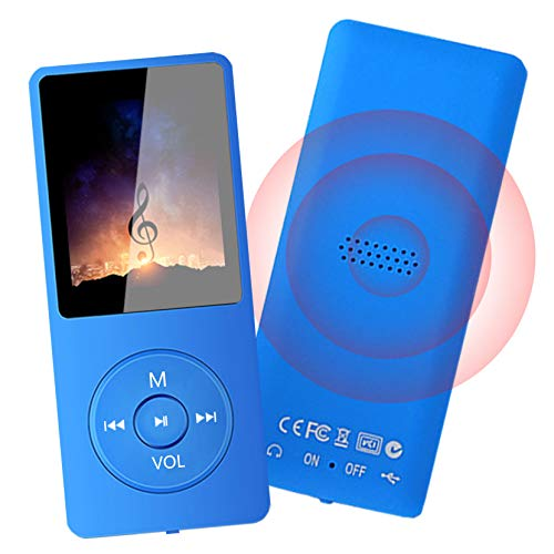 MP3 Player - 32GB MP3 Music Player with Voice Recorder and FM Radio, Hi-Fi Sound Potable Audio Player Build-in Speaker, with Video, Text Reading and Support up to 128GB, Blue
