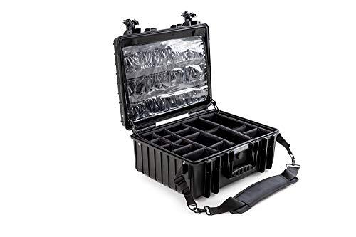 B & W EHBO-koffer (inzetbaar, organizer set in deksel, binnenin 47,5 x 35 x 20 cm, schouderriem) MED. Cases, zwart, 6000/B/M