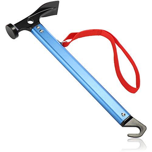com-four® Camping Hammer mit Heringauszieher - Zelt Hammer mit Handschlaufe - Hering Hammer aus Aluminium- Camping Zubehör