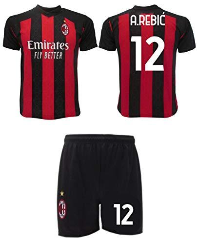 Rebic Milan 2021 Offizielle Tür 2020-2021 Größe 12 Trikot + Shorts A.Rebií, Rossonera, 6 Jahre
