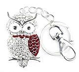 Quadiva ciondolo da borsa gufo, da donna - Bag Charm Owl - (colore: Argento/Rosso), decorato con cristalli