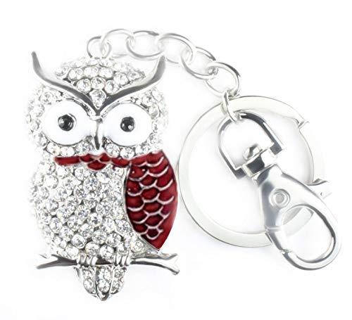 Quadiva - Damen - Taschenschmuck- Bag Charm Red Owl - Eule (Farbe: Silber/rot) mit Kristallen besetzt