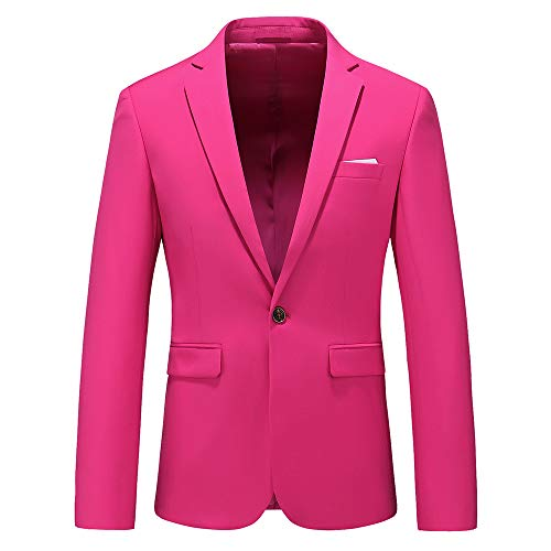 Men's Slim Fit Casual Blazer One Button Notched Lapel Turn-Down Collar Suit Jacket US Size 38 (Label Size 3XL) Pink