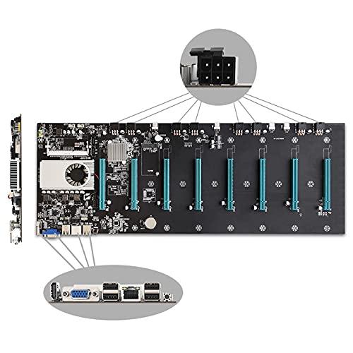 Soolike BTC-S37 Mining Machine Motherboard,Placa Base para Minería,Miner CPU Motherboard Set 8 Ranuras para Gráficos PCI-E X16 Bajo Consumo de energía Tarjeta de Sonido