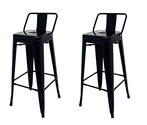 Die spanische Stuhl tólix Pack Hocker Rückenlehne, Edelstahl, Schwarz, 43x 43x 76cm