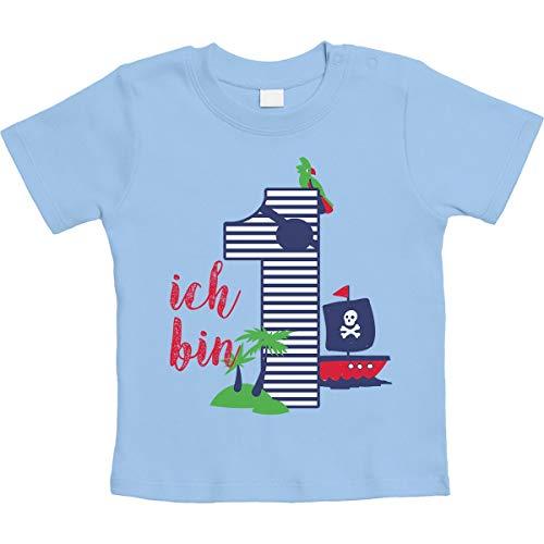 Shirtgeil 1 Jahr Geburtstag Piraten Geschenk Jungen Baby T-Shirt 12-18 Monate / 86 Hellblau