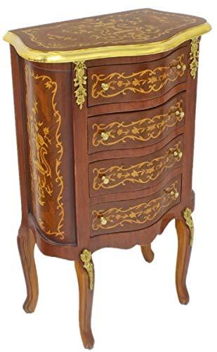 Casa Padrino cómoda Barroco marrón Oscuro/Oro 50 x 30 x A. 80 cm - Cómoda de Madera Maciza de Estilo Antiguo Hecha a Mano con 4 cajones - Muebles Barrocos