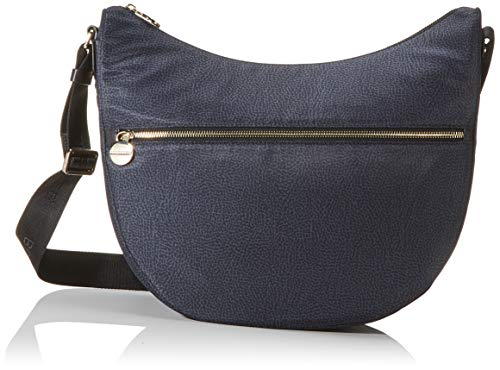 Borbonese Luna Bag Medium, Borsa a Tracolla Donna, Nero (Nero/Nero),...