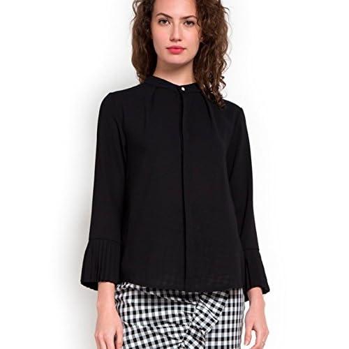 47d19464bc0aa ENL Women s Georgette Cuff Mandarin Collar Formal Shirt Golden Button  Detailing Top Blouse