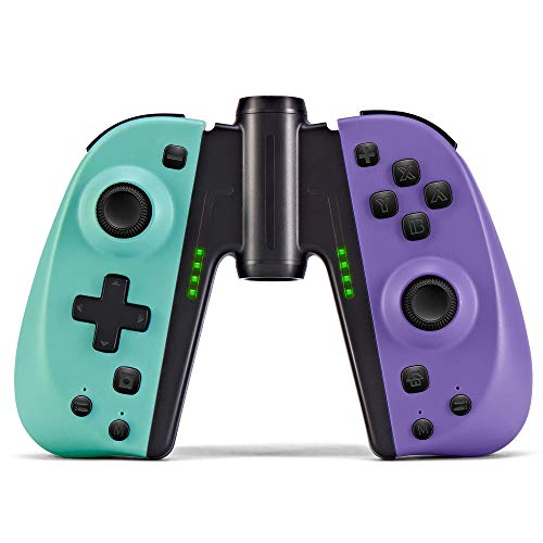 FUNLAB Wireless Controller for Nintendo Switch JoyCon,Pair Joypad with Grip Replacement for Joy-Con,Macro Button/Turbo/Vibration/Motion Functions(Turquoise/Purple)
