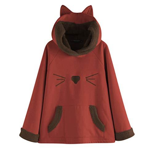 Auifor dames casual oor-met capuchon vlies-patchwork-karikatuur-opdruk-zakken-hoodie-bovenkant blouse