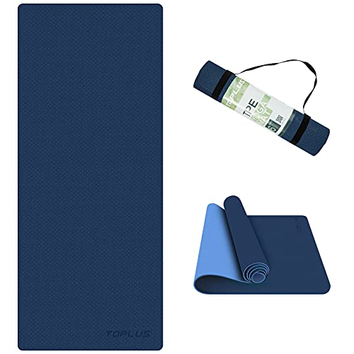 TOPLUS Yoga Mat, 1/4 Inch Thick Pro Yoga Mat TPE Eco Friendly Non Slip Fitness Exercise Mat with Carrying Strap-Workout...