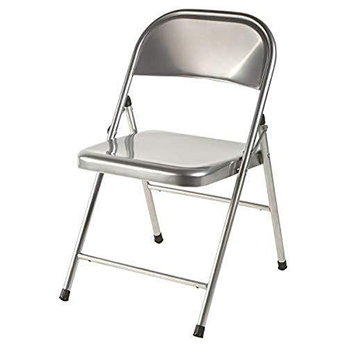 Mod-22 Silla plegable metálica color aluminio para salón, comedor, cocina, estudio, escritorio, despacho, dormitorio, balcón, terraza interior, habitación juvenil, dormitorio . 1 unidad