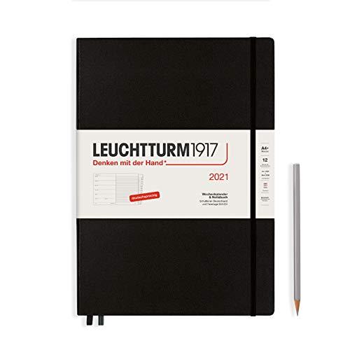 LEUCHTTURM1917 361814 Wochenkalender & Notizbuch 2021 Hardcover Master (A4+), 12 Monate, Schwarz, Deutsch