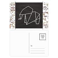 抽象折り紙象の幾何形状 公式ポストカードセットサンクスカード郵送側20個
