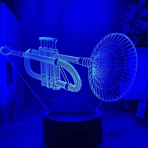 GEZHF 3D Illusion Lamp 16 Colors Changing with Remote Acrylic 3D Illusion Baby Night Light Musical Instrument Led Sensor Color Changing Nightlight for Room Decor 3D Lamp Cornet -7 Colors + Touch