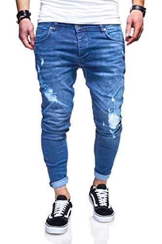 behype. Herren Destroyed Jeans-Hose 80-3496 (32/32, Hellblau)