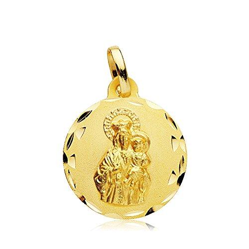 Medalla Oro 18K Virgen Carmen Tallada 18mm. [Ab2459Gr] - Personalizable - Grabación Incluida En El Precio