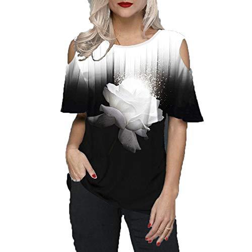 Primavera Y Verano Nuevas Mujeres De Gran TamañO Suelta 3D Estampado De Flores Cuello Redondo Sin Tirantes Camiseta De Manga Corta