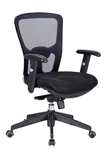 OFFICE FACTOR Black Executive Computer Task Mesh Back Office Chair, Fully Adjustable Ventilated Mesh Chair, Ergonomic Breathable Office Chair with Knee Tilt Mechanism – 250 LBS Rated