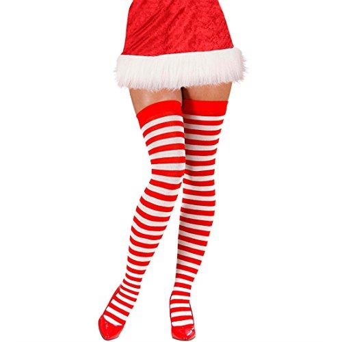 NET TOYS Halterlose Weihnachtsstrümpfe Ringelstrümpfe Damenstrümpfe rot-weiß Geringelt Damen Frauen Overknees