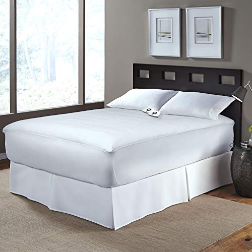 Serta   Cotton Blend Electric Heated Mattress Pad with 5Setting Controller WhiteTwin