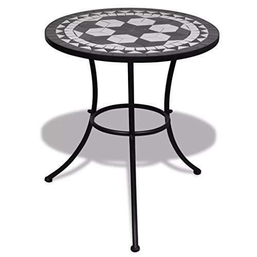SOULONG Tavolo con Mosaico, 60cm Tavolo di Mosaico da Balcone Giardino, Tavolini da caffè in Ceramica, Robusta Telaio in Ferro,Tavolo da Bistro, Bianco e Nero
