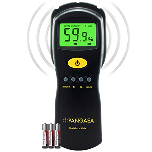 Pinless Wood Moisture Meter | Inductive Pinless Tools | Intelligent Lumber Moisture Meter | Digital Moisture Meter for Wood | (Range: 2% - 70% RH; Accuracy: 0.5%) [3 AAA Batteries Included]