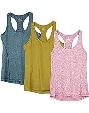 icyzone Camiseta de Fitness Deportiva de Tirantes para Mujer, Pack de 3