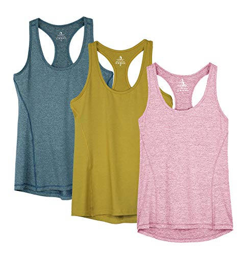 icyzone Damen Sporttop Yoga Tank Top Ringerrücken Oberteil Laufen Fitness Funktions Shirt (XL, Mustard/Lilac Snow/Teal)