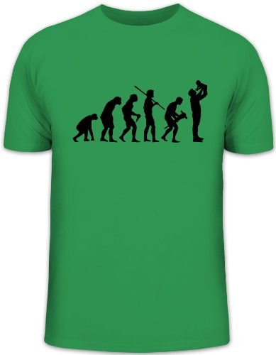 Shirtstreet24, Evolution Daddy, Vater Papa Funshirt, Größe: XXL, Kelly Green
