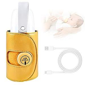 Calentador de biberones, calentador de leche para bebés, calentador de biberones, bolsa de aislamiento térmico portátil con puerto de carga USB para el cuidado del bebé