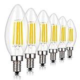 C35 シャンデリア電球 40W形相当 E12口金 LED エンジン電球 蝋燭型 4W フィラメント LED電球 E12 40w 電球色 2700k 400lm C35 クリアタイプ 調光器非対応 (6個入り)