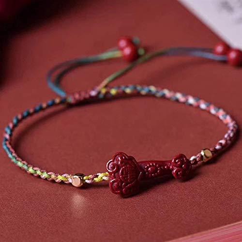 Feng Shui Pulsera de la riqueza para las mujeres Cinabar natural Ruyi Beads Mano Tejido Pulsera Ajustable Amuleto Atraer dinero Suerte Talismán Para Prosperidad Dinero Buena suerte, Multi Color Plztou