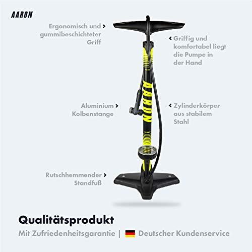 Aaron Sport One hochwertige Fahrrad Standpumpe mit Manometer für alle Ventile, Hochdruck Fahrradpumpe Rennrad, Luftpumpe, Pumpe mit Ball Aufsatz, Gelb - 3