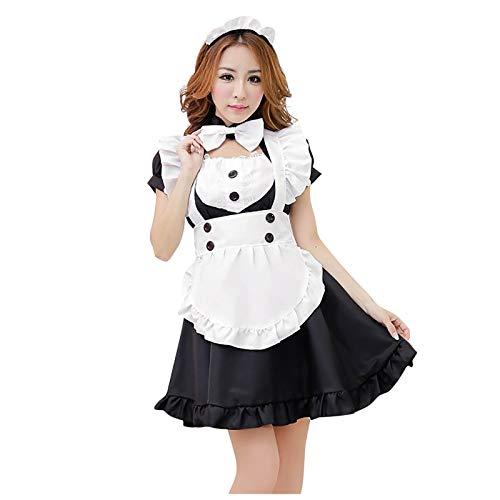 myisgk Disfraz de mujer Maid Cosplay vestido sexy Lolita vestido Maid Dress con delantal blanco y sombrero, uniforme, vestido de noche, fiesta, carnaval Negro 4X-Large