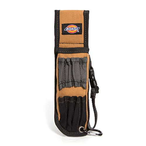 Dickies Large Pliers Holster and Tool Holder Work Belt Pouch, 4 Small Pockets, 4 Tool Loops, Durable Canvas, 2-inch Belt Loop, Grey/Tan