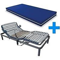 Duermete Cama Eléctrica Articulada Reforzada 5 Planos + Colchón Hospitalario Sanitario Basic HR Funda Impermeable, Pack, 80x180