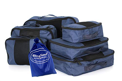 7 Travel Packing Cubes - Blue Suitcase Storage, Various Size Luggage Organizer Bag With 1 Shoe Bag 6 Compression Bag