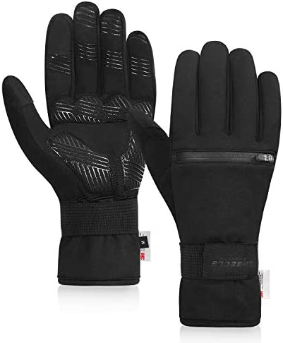 Speecle Reinforced Winter Cycling Gloves Waterproof Thermal Gloves with Zipper Pockets Touch product image