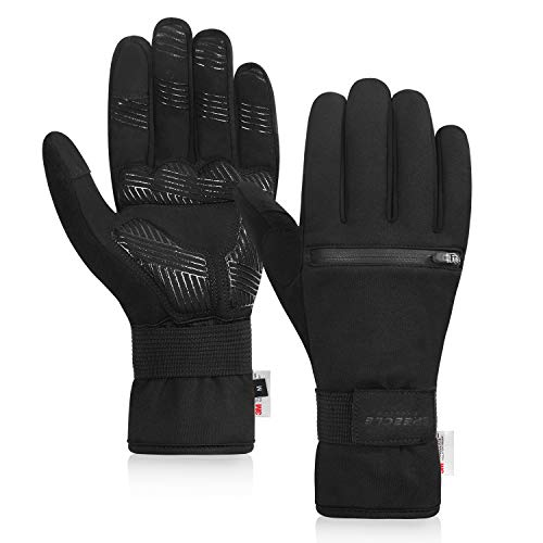 Speecle Reinforced Winter Cycling Gloves Waterproof Thermal Gloves with Zipper Pockets, Touch Screen Sports Gloves with 3mm Gel Pads for Biking, Working, Skiing, Hiking, Snowboarding for Men Women, L