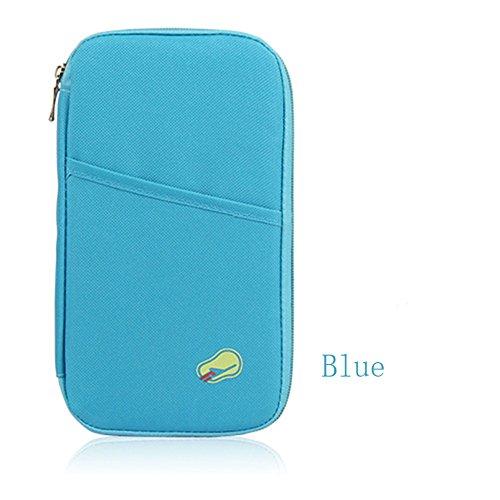 Passaporto e Porta Documenti da Viaggio Custodia a portafoglio porta carte di credito e bancomat documenti multiuso, ID Porta carte di credito passaporto Organizer, Blue (blu) - ZJB003-blue