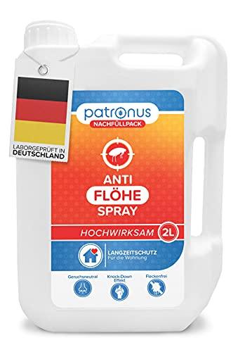 Patronus Anti Floh-Spray für die Wohnung - 2 Liter Nachfüllpack - biologisch abbaubares Mittel gegen Flöhe mit Langzeitschutz - geruchsneutral, hochwirksam und laborgeprüft