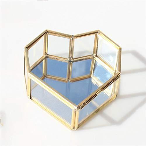 Yousiju Caja de Anillo de Boda Caja de Almacenamiento Caja de terrario de Vidrio Verdor Portador de Anillo de Vidrio Caja de Anillo suculento