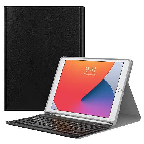 MoKo Tangentbordsfodral för nya iPad 10.2 2020/2019 (10,2 tum) med Apple pennhållare, trådlöst tangentbord fodral för Apple nya iPad 8:e generationen 2020 och iPad 7:e generationen 10,2 2019 – svart