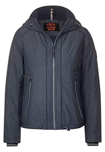 Cecil Damen 201473 Windbreaker mit Kapuze Windjacke, deep Blue Melange, XX-Large
